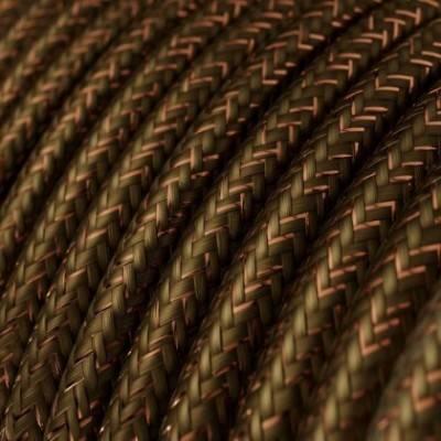 Cable Eléctrico Redondo Recubierto en tejido Efecto Seda Color Sólido, Marrón Glitter RL13