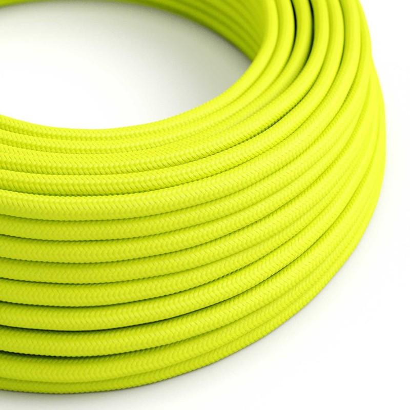Cable Eléctrico Redondo Recubierto en tejido Efecto Seda Color Sólido, Amarillo Fluo RF10