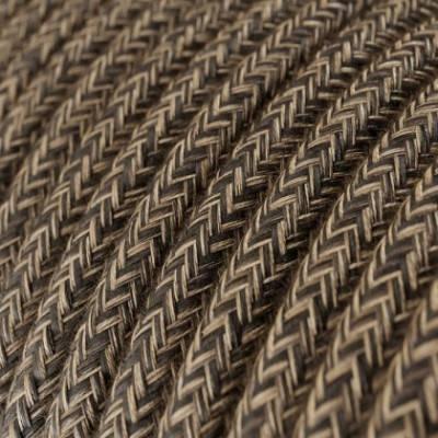 Cable Eléctrico Redondo Recubierto en Lino Natural Marrón RN04