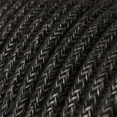 Cable Eléctrico Redondo Recubierto en Lino Natural Antracita RN03