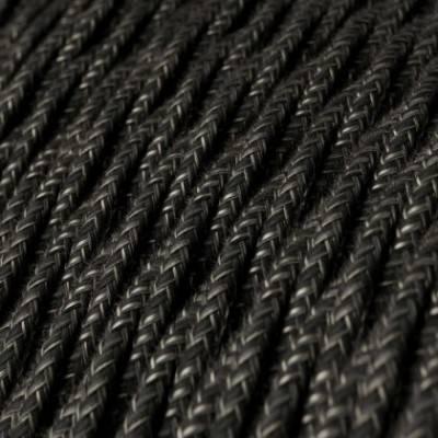 Cable Eléctrico Trenzado Recubierto en Lino Natural Antracita TN03
