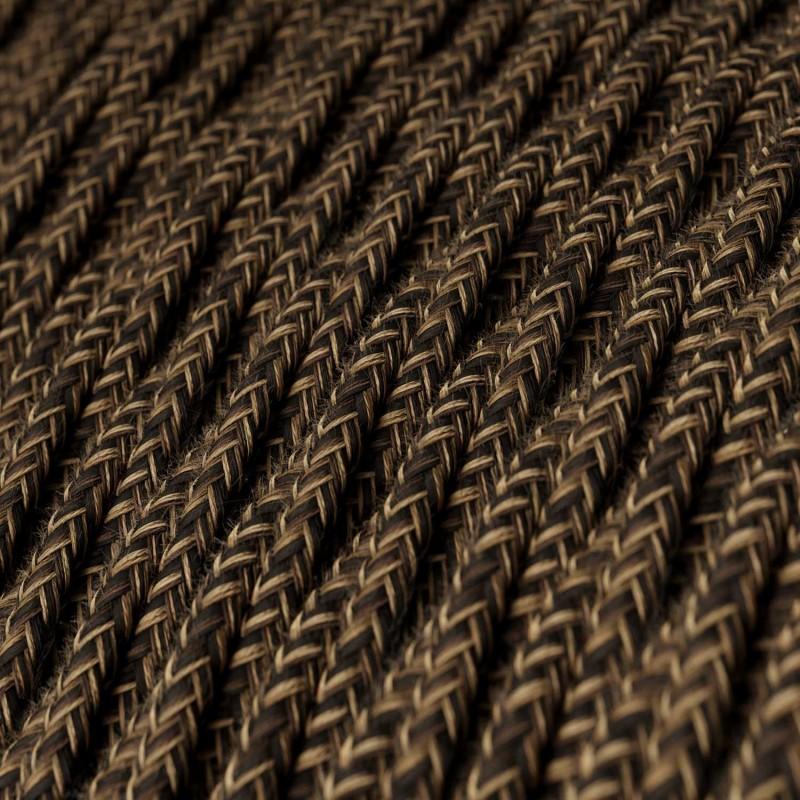 Cable Eléctrico Trenzado Recubierto en Lino Natural Marrón TN04