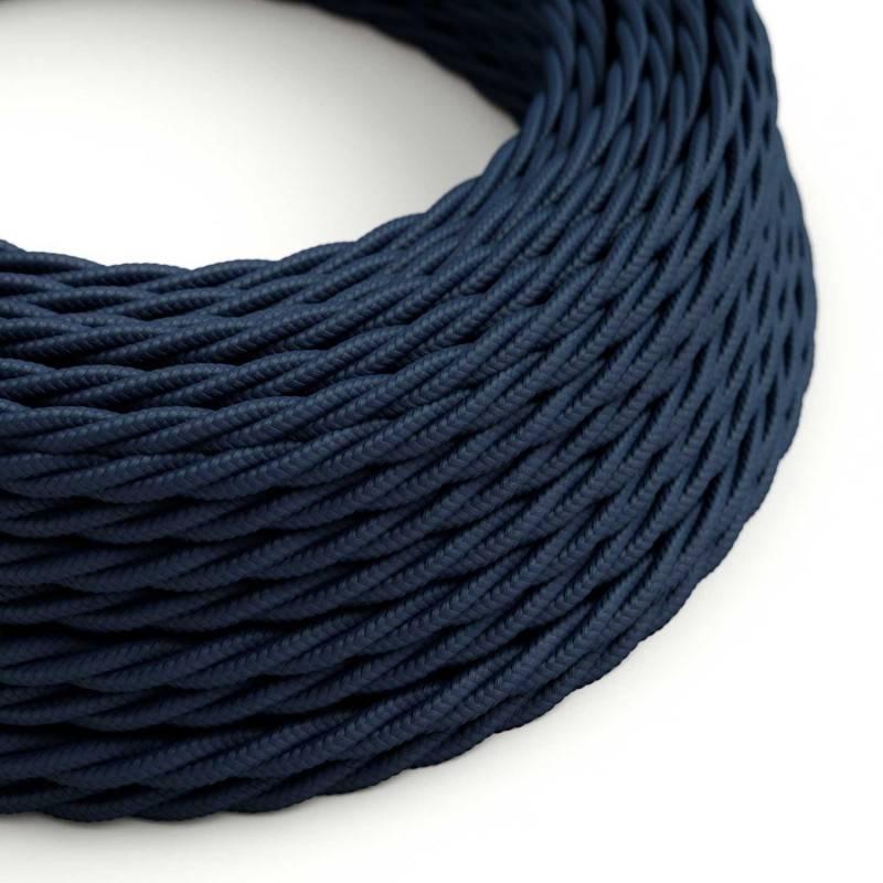 Cable Textil Flexible Eléctrico Trenzado para iluminación TM20 Azul Oscuro