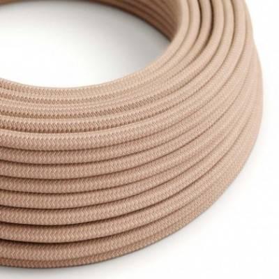 Cable Eléctrico Redondo Recubierto en Algodón Zigzag color Rosa Viejo y Lino Natural RD71