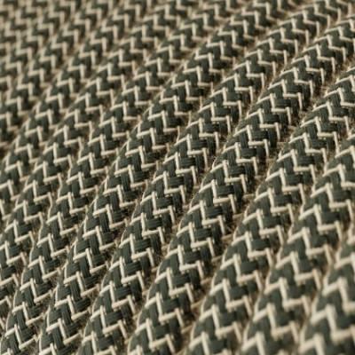 Cable Eléctrico Redondo Recubierto en Algodón Zigzag color Antracita y Lino Natural RD74