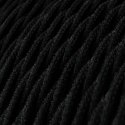Cable Eléctrico Trenzado Recubierto en Algodón Color Sólido, Negro TC04