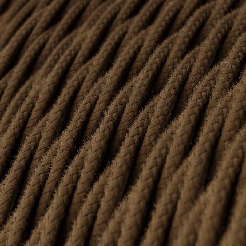 Cable Eléctrico Trenzado Recubierto en Algodón Color Sólido, Marrón TC13