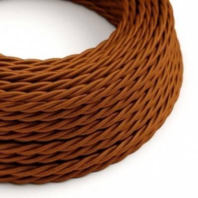 Cable Eléctrico Trenzado Recubierto en tejido efecto Seda - Color Sólido Whisky TM22