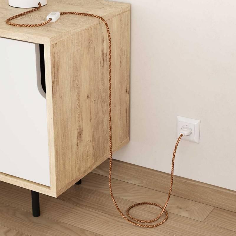 Cable eléctrico Redondo recubierto en tejido efecto seda RX01 Pixel Naranja