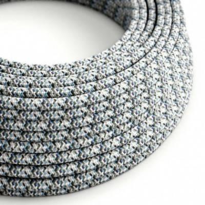 Cable eléctrico Redondo recubierto en tejido efecto seda RX04 Pixel Hielo