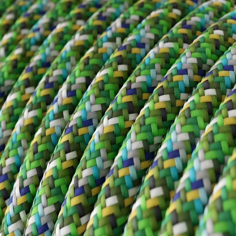 Cable eléctrico Redondo recubierto en tejido efecto seda RX05 Pixel Verde