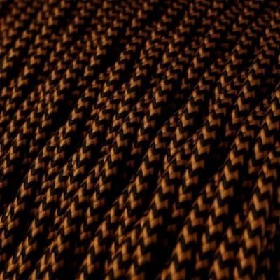 Cable Eléctrico Trenzado Recubierto en tejido Efecto Seda Negro y Whisky TZ22