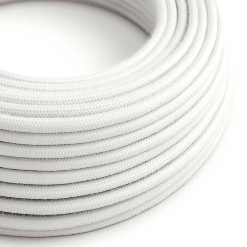 Cable Eléctrico Redondo Recubierto en Algodón Color Sólido Blanco RC01