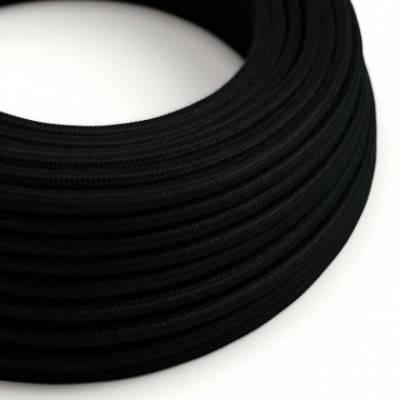 Cable Eléctrico Redondo Recubierto en Algodón Color Sólido Negro RC04