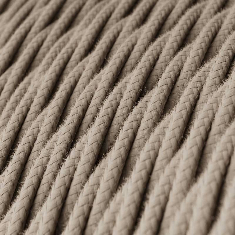 Cable Eléctrico Trenzado Recubierto en Algodón Color Sólido Gris pardo TC43
