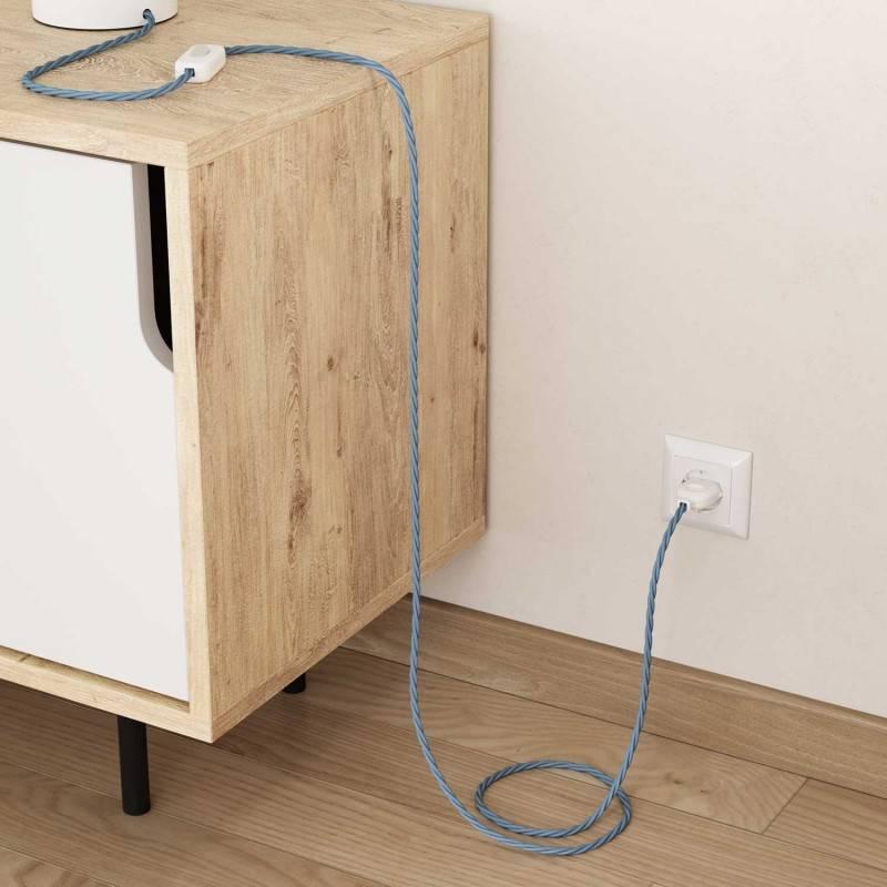 Cable Eléctrico Trenzado Recubierto en Algodón Color Sólido Oceano TC53