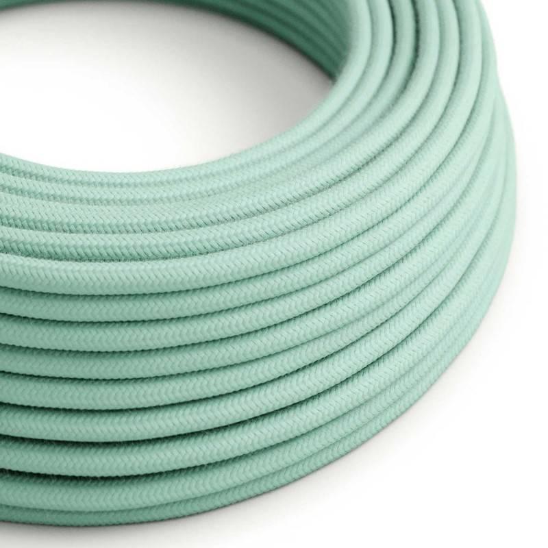Cable Eléctrico Redondo Recubierto en Algodón Color Sólido Leche y Menta RC34