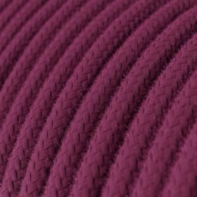 Cable Eléctrico Redondo Recubierto en Algodón Color Sólido Rojo Violeta RC32