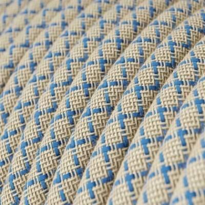Cable Eléctrico Redondo Recubierto en Algodón Rombo Azul Steward y lino Naturel RD65