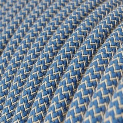 Cable Eléctrico Redondo Recubierto en Algodón ZigZag Azul Steward y lino Naturel RD75