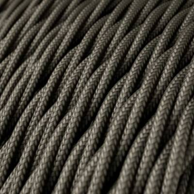 Cable Eléctrico Trenzado Recubierto en tejido Efecto Seda Color Sólido, Gris Oscuro TM26