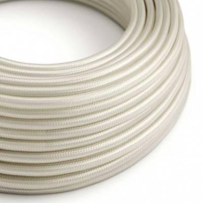 Cable Eléctrico Redondo Recubierto en tejido Efecto Seda Color Sólido, Marfil RM00