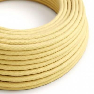 Cable Eléctrico Redondo Recubierto en Algodón Amarillo Pastel RC10