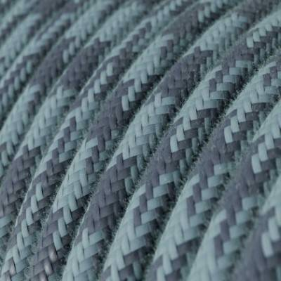 Cable Eléctrico Redondo recubierto en Algodón Bicolor Gris Piedra y Océano RP25