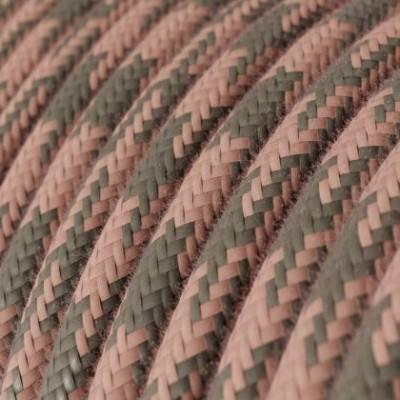 Cable Eléctrico Redondo recubierto en Algodón Bicolor Rosa Viejo y Gris RP26