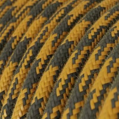 Cable Eléctrico Redondo recubierto en Algodón Bicolor Miel Dorado y Antracita RP27