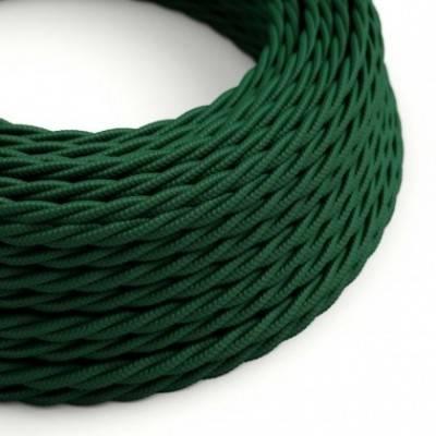 Cable Eléctrico Trenzado Recubierto en tejido Efecto Seda Color Sólido Verde Oscuro TM21