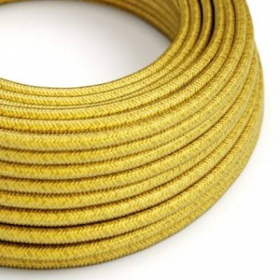 Cable Eléctrico Redondo recubierto en tejido efecto Seda Color Sólido Limón RM31