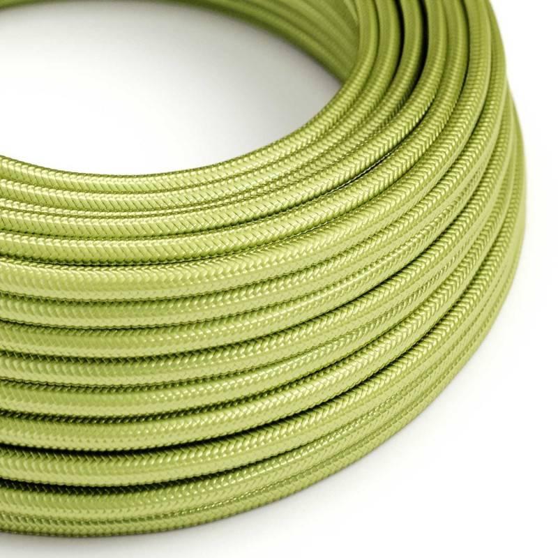 Cable Eléctrico Redondo recubierto en tejido efecto Seda Color Sólido Kiwi RM32
