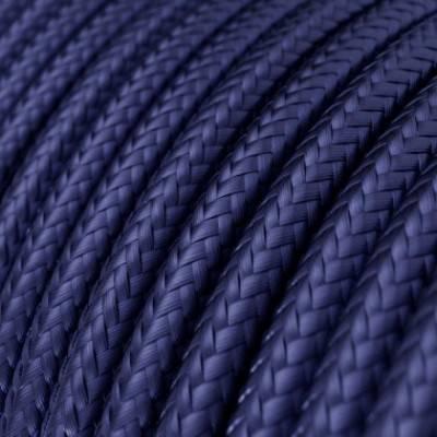 Cable Eléctrico Redondo recubierto en tejido efecto Seda Color Sólido Zafiro RM34