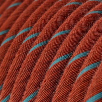 Cable Eléctrico redondo Vertigo recubierto en algodón Ladrillo y Azul Claro ERC36