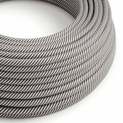 Cable Eléctrico redondo Vertigo HD recubierto en Textil Blanco y Pizarra ERM37