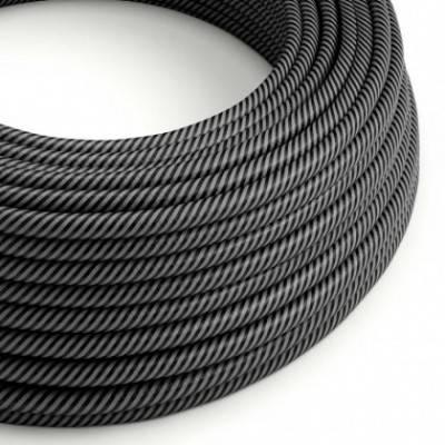 Cable Eléctrico redondo Vertigo HD recubierto en Textil finas tiras Grafito y Negro ERM38