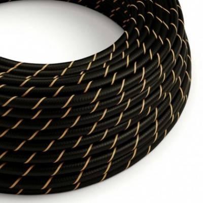 Cable Eléctrico redondo Vertigo HD recubierto en Textil Negro y Oro ERM42