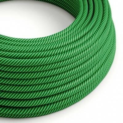 Cable Eléctrico redondo Vertigo HD recubierto en Textil Kiwi y Verde Oscuro ERM48