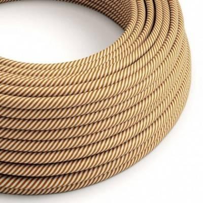 Cable Eléctrico redondo Vertigo HD recubierto en Textil Blanco y Whisky ERM49