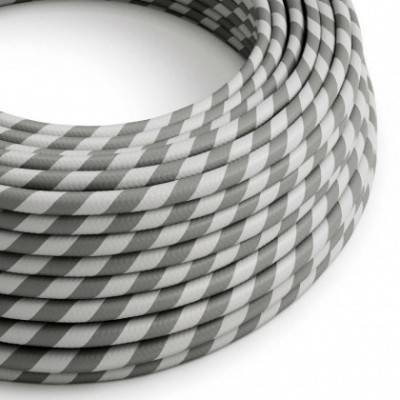 Cable Eléctrico redondo Vertigo HD recubierto en Textil Plateado y Gris ERM55
