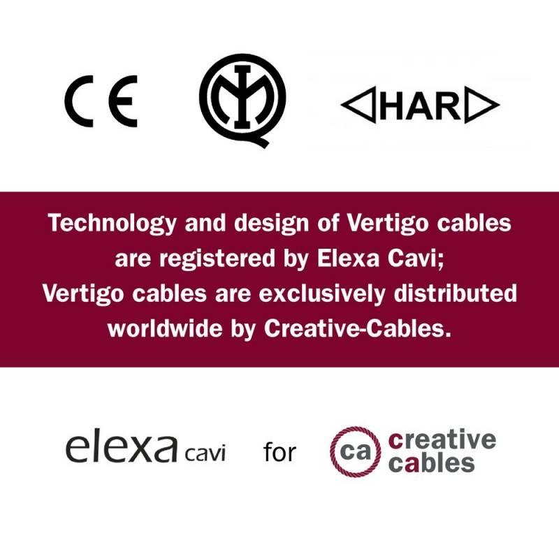 Cable Eléctrico redondo Vertigo HD recubierto en Textil Óptical Negro y Plateado ERM64