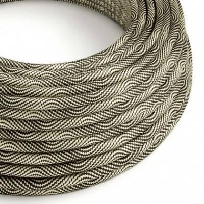 Cable Eléctrico redondo Vertigo HD recubierto en Textil Óptical Negro y Dorado ERM65