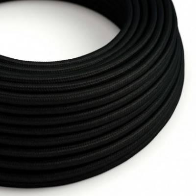Cable Eléctrico Redondo Recubierto en tejido Efecto Seda Color Sólido, Negro RM04