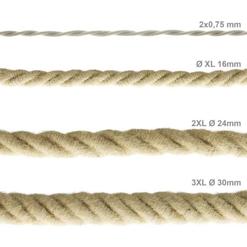 Cordón 2XL, cable eléctrico 3x0,75, recubierto en yute en bruto. Diámetro: 24mm.