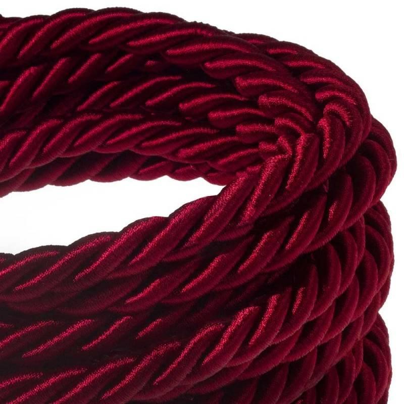 Cordón XL, cable eléctrico 3x0,75, recubierto en tejido bordeos oscuro brillante. Diámetro: 16mm.