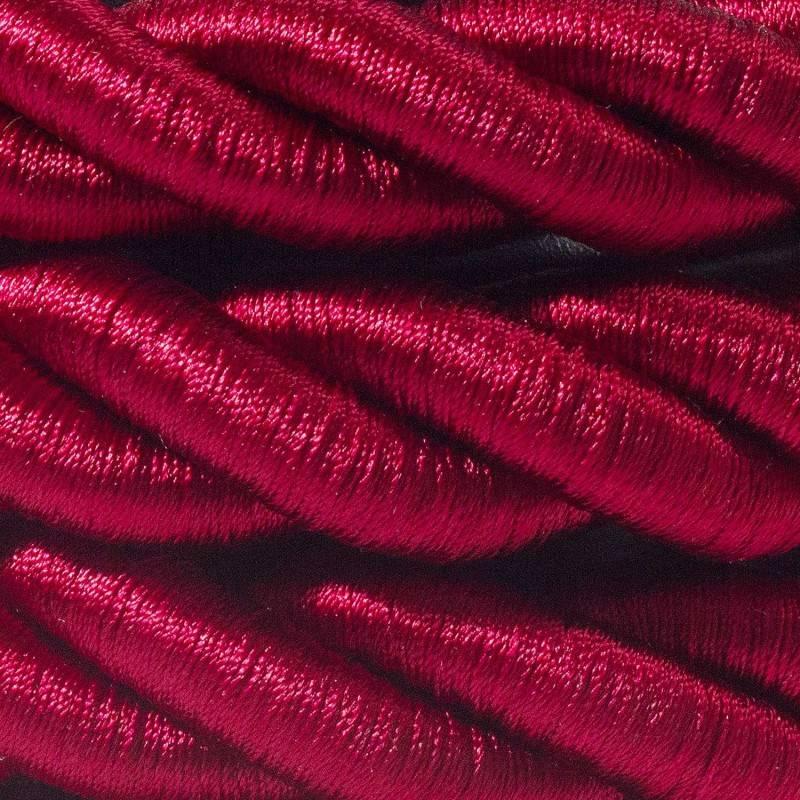 Cordón 2XL, cable eléctrico 3x0,75, recubierto en tejido bordeos oscuro brillante. Diámetro: 24mm.