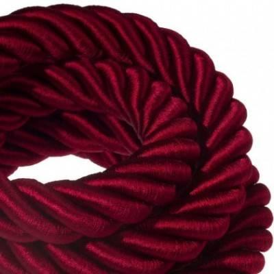 Cordón 3XL, cable eléctrico 3x0,75, recubierto en tejido bordeos oscuro brillante. Diámetro: 30mm.