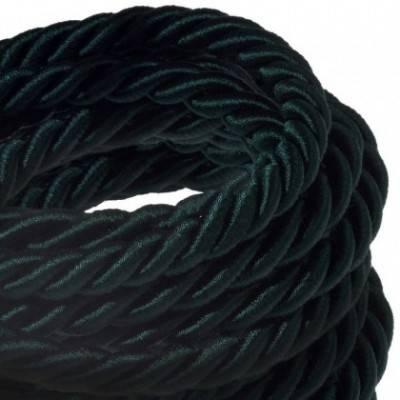 Cordón XL, cable eléctrico 3x0,75, recubierto en tejido verde oscuro brillante. Diámetro: 16mm.