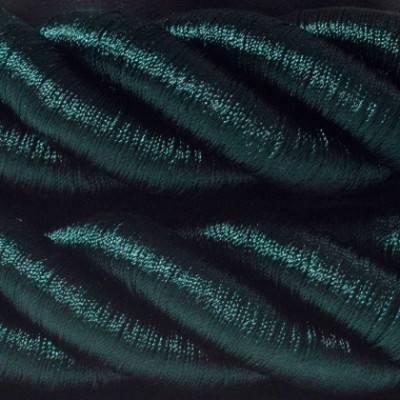 Cordón 3XL, cable eléctrico 3x0,75, recubierto en tejido verde oscuro brillante. Diámetro: 30mm.